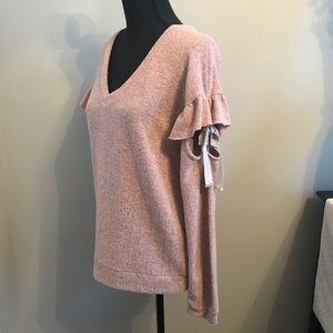 Tops - Soft brushed V-neck shirt w/ ruffle sleeve